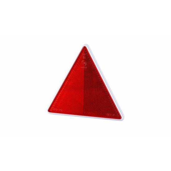 Piros háromszög alakú prizma fehér kerettel 162 x 143mm