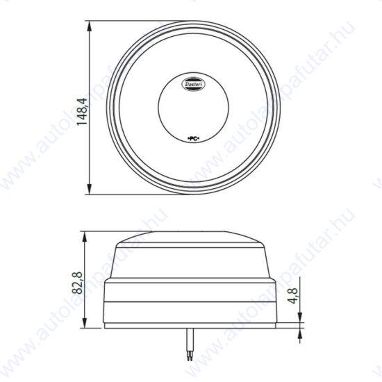 LED kék villogó, mágneses rögzítés, 10-30V, 11W, Dasteri DSL-470.08