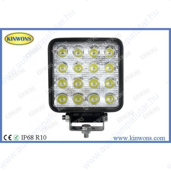 LED Munkalámpa,négyszögletes,terítő(60°),48W,3840lm,104x104x60mm,IP68,Kinwons KS0048-FLOOD